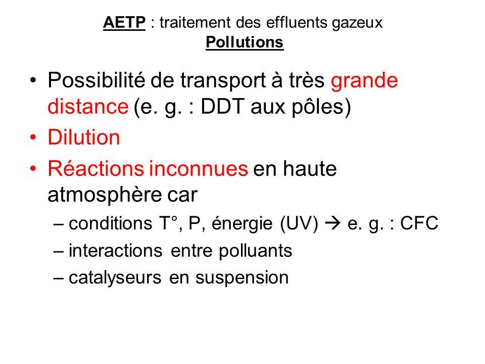 AETP : traitement des effluents gazeux Pollutions Possibilité de transport à très grande distance (e. g. : DDT aux pôles) Dilution Réactions inconnues