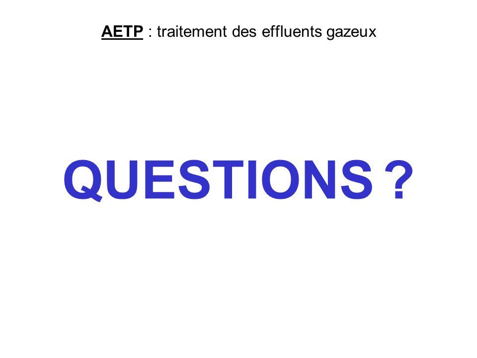 AETP : traitement des effluents gazeux QUESTIONS ?