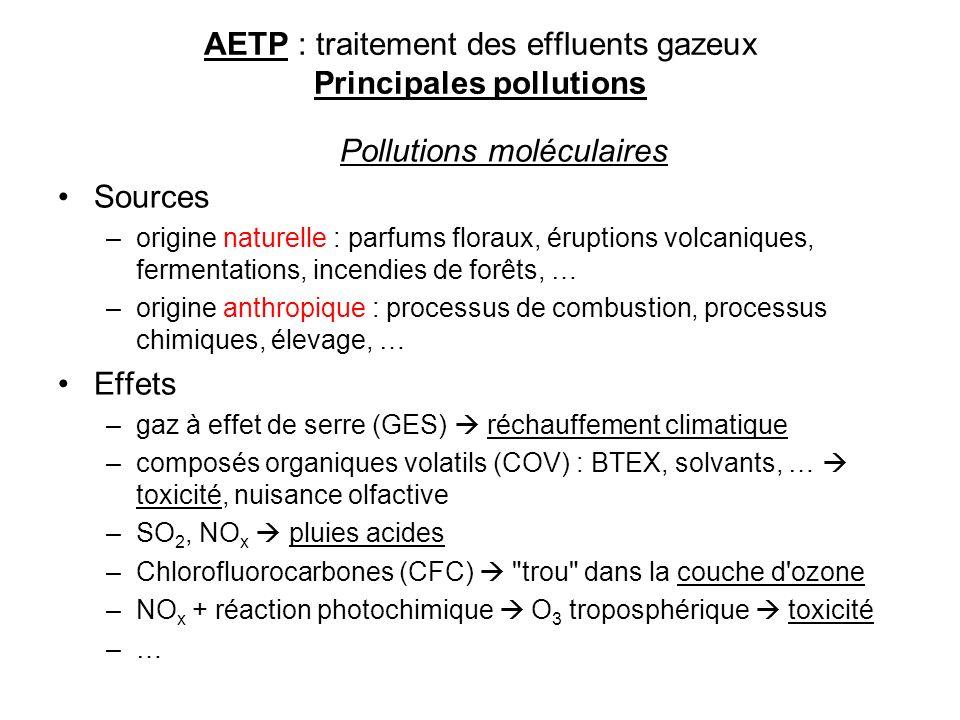 AETP : traitement des effluents gazeux Principales pollutions Pollutions moléculaires Sources –origine naturelle : parfums floraux, éruptions volcaniq
