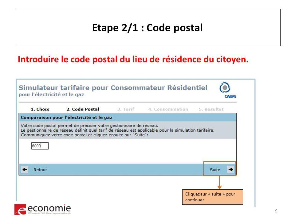 Etape 2/1 : Code postal Introduire le code postal du lieu de résidence du citoyen.