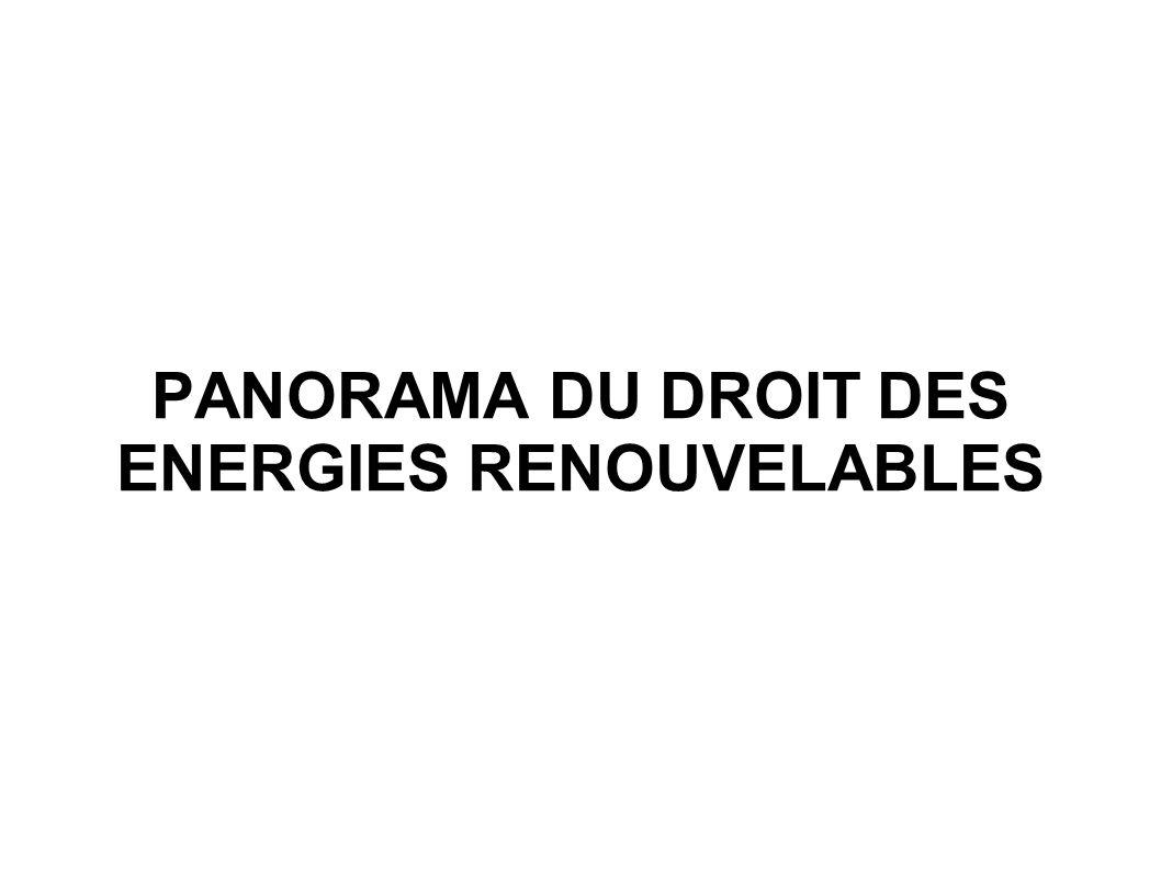 PANORAMA DU DROIT DES ENERGIES RENOUVELABLES