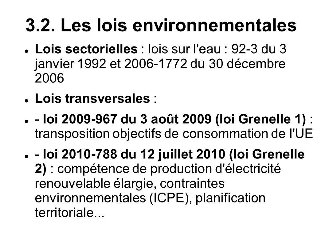 3.2. Les lois environnementales Lois sectorielles : lois sur l'eau : 92-3 du 3 janvier 1992 et 2006-1772 du 30 décembre 2006 Lois transversales : - lo