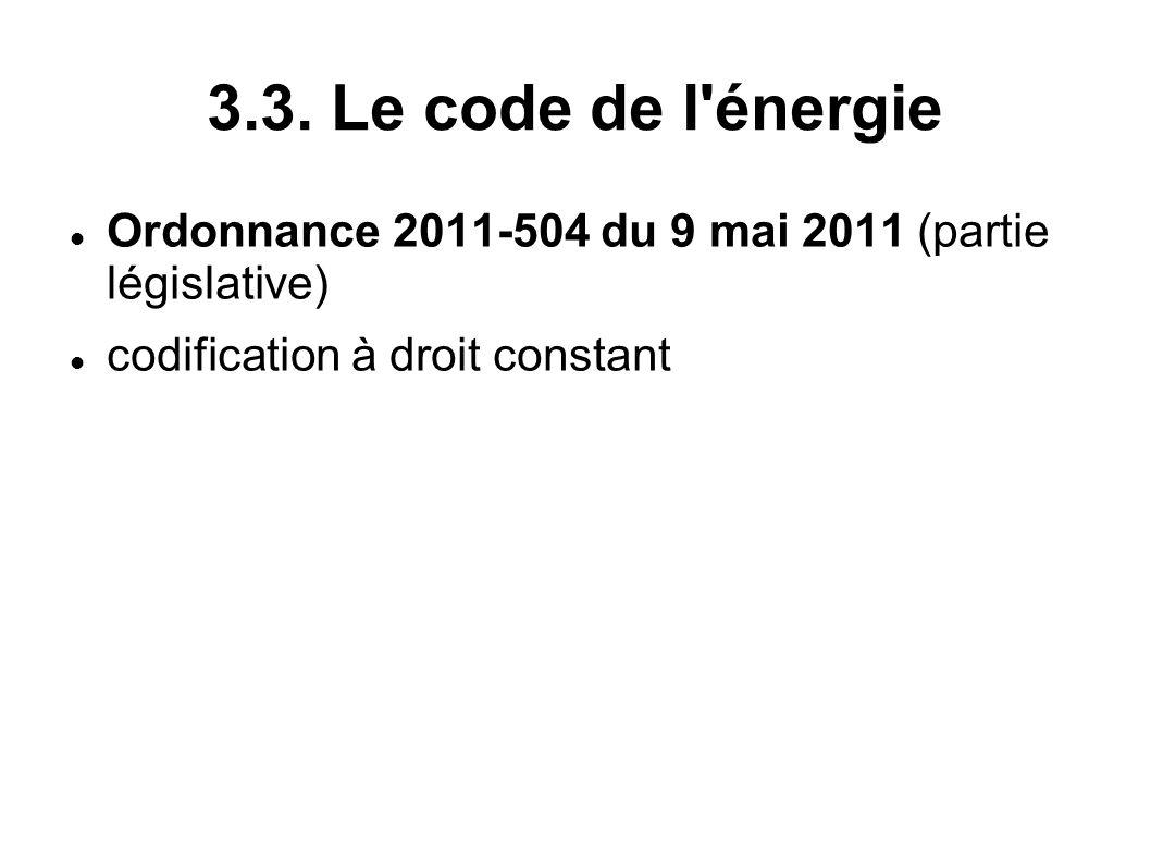 3.3. Le code de l'énergie Ordonnance 2011-504 du 9 mai 2011 (partie législative) codification à droit constant