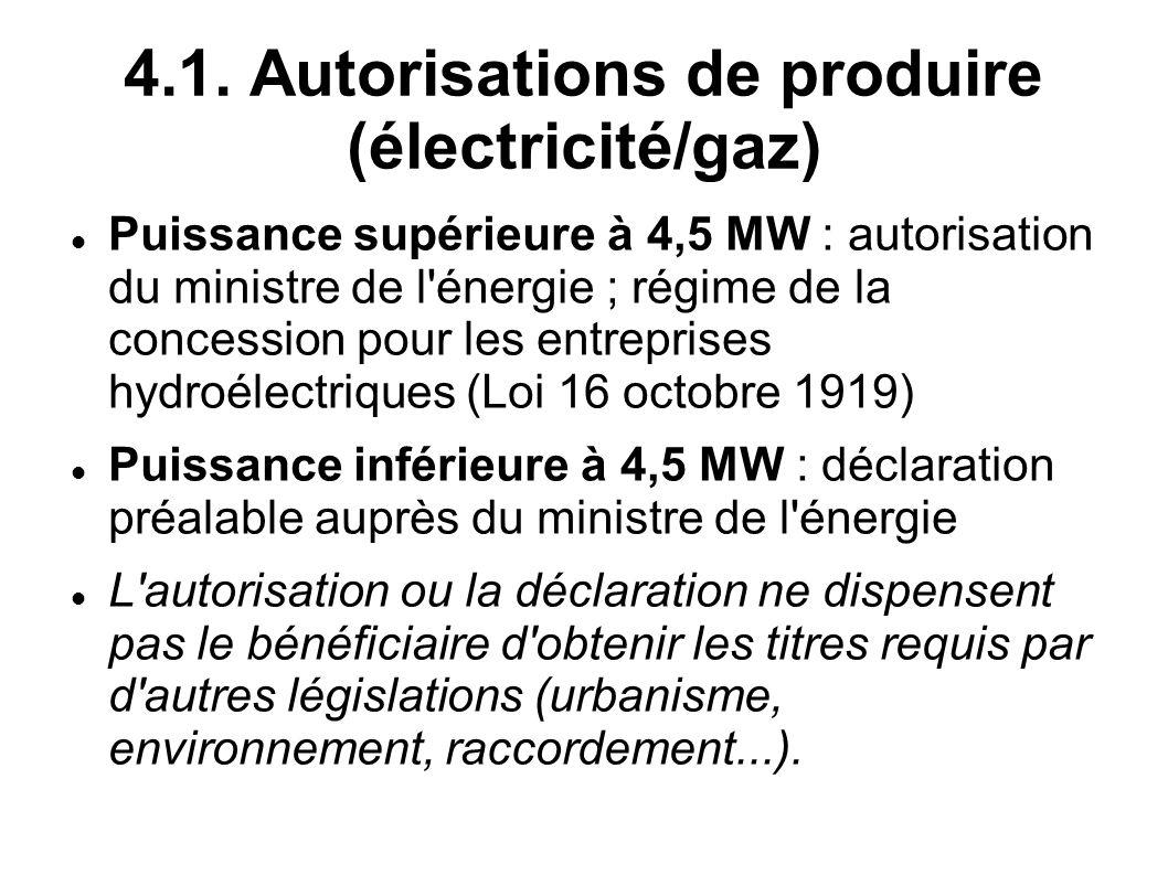 4.1. Autorisations de produire (électricité/gaz) Puissance supérieure à 4,5 MW : autorisation du ministre de l'énergie ; régime de la concession pour