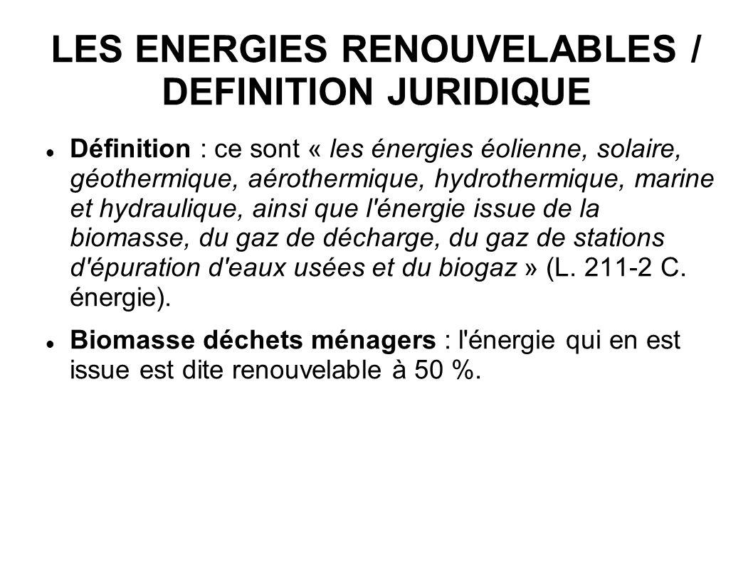 LES ENERGIES RENOUVELABLES / DEFINITION JURIDIQUE Définition : ce sont « les énergies éolienne, solaire, géothermique, aérothermique, hydrothermique,