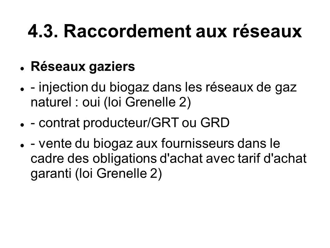 4.3. Raccordement aux réseaux Réseaux gaziers - injection du biogaz dans les réseaux de gaz naturel : oui (loi Grenelle 2) - contrat producteur/GRT ou