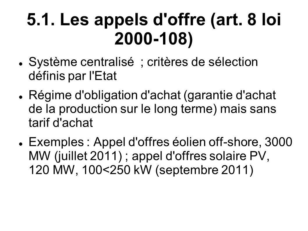 5.1. Les appels d'offre (art. 8 loi 2000-108) Système centralisé ; critères de sélection définis par l'Etat Régime d'obligation d'achat (garantie d'ac