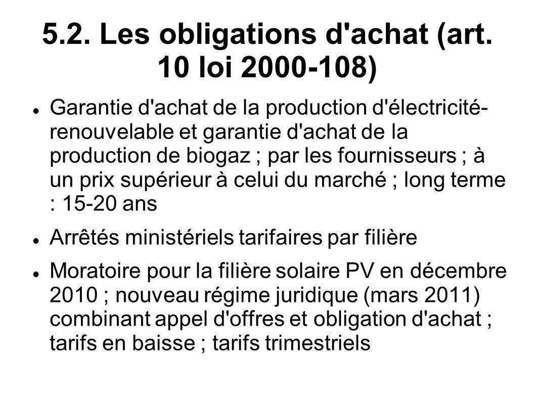 5.2. Les obligations d'achat (art. 10 loi 2000-108) Garantie d'achat de la production d'électricité- renouvelable et garantie d'achat de la production