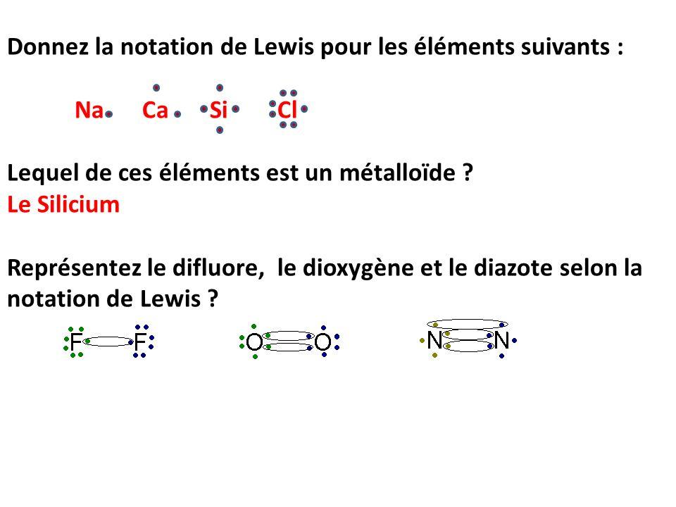 Donnez la notation de Lewis pour les éléments suivants : Na CaSiCl Lequel de ces éléments est un métalloïde ? Le Silicium Représentez le difluore, le