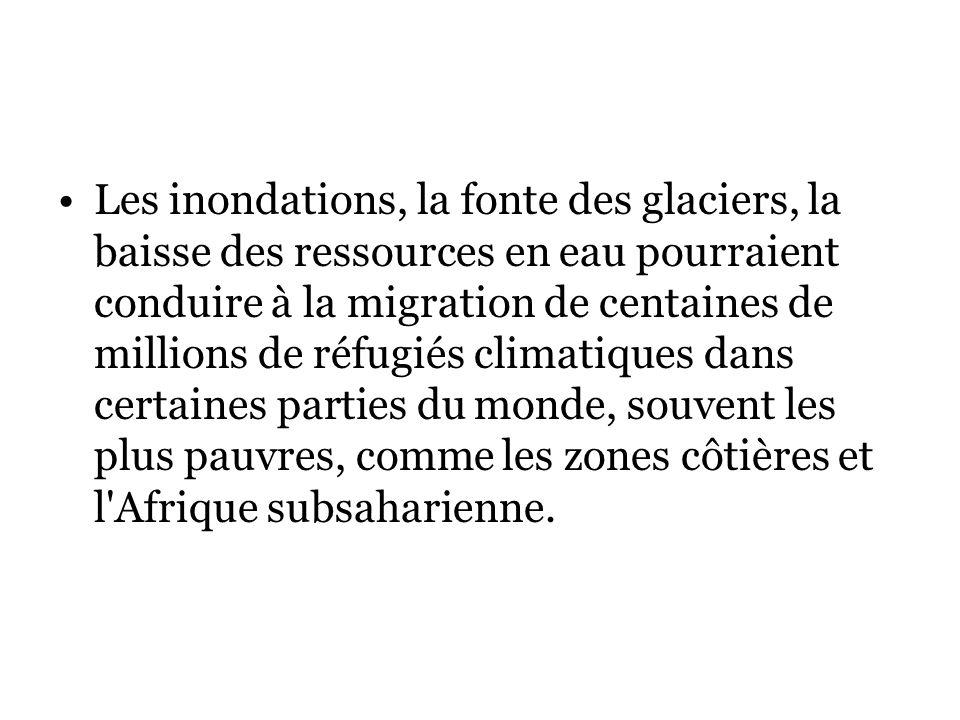 Les inondations, la fonte des glaciers, la baisse des ressources en eau pourraient conduire à la migration de centaines de millions de réfugiés climatiques dans certaines parties du monde, souvent les plus pauvres, comme les zones côtières et l Afrique subsaharienne.