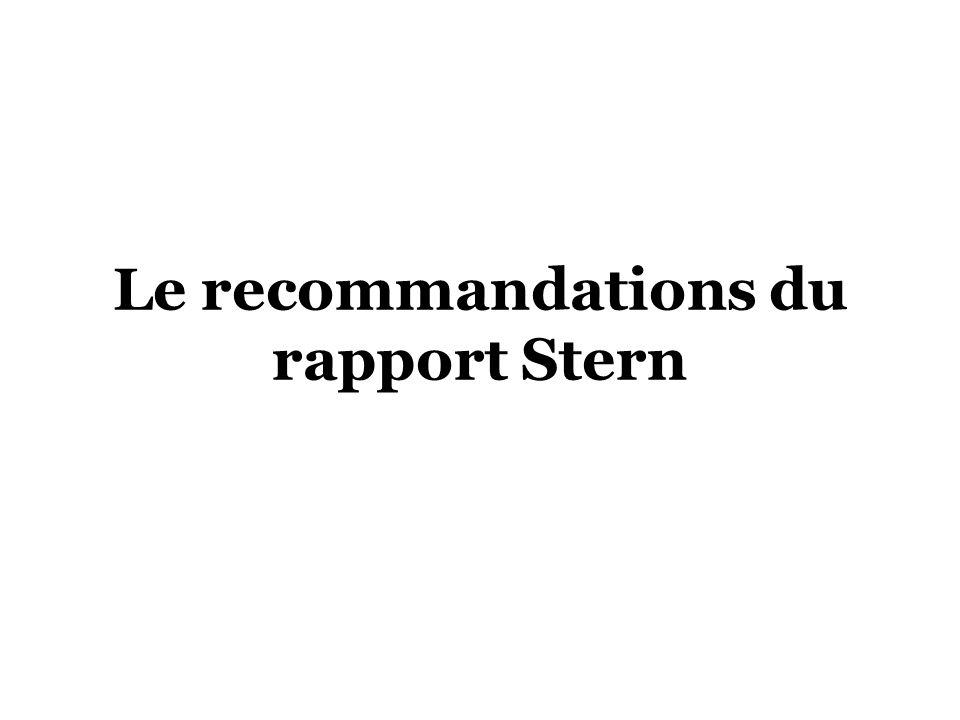 Le recommandations du rapport Stern