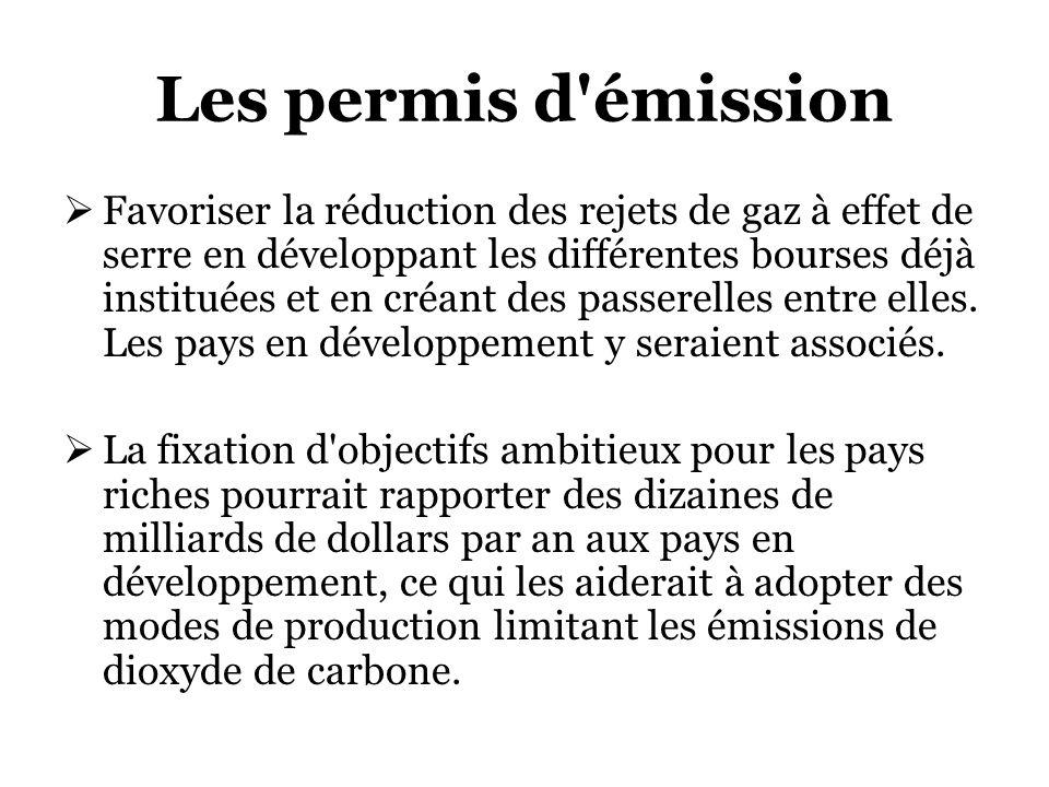 Les permis d émission Favoriser la réduction des rejets de gaz à effet de serre en développant les différentes bourses déjà instituées et en créant des passerelles entre elles.