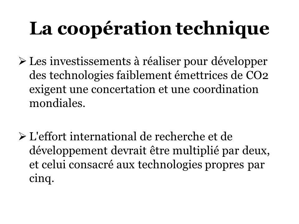 La coopération technique Les investissements à réaliser pour développer des technologies faiblement émettrices de CO2 exigent une concertation et une coordination mondiales.