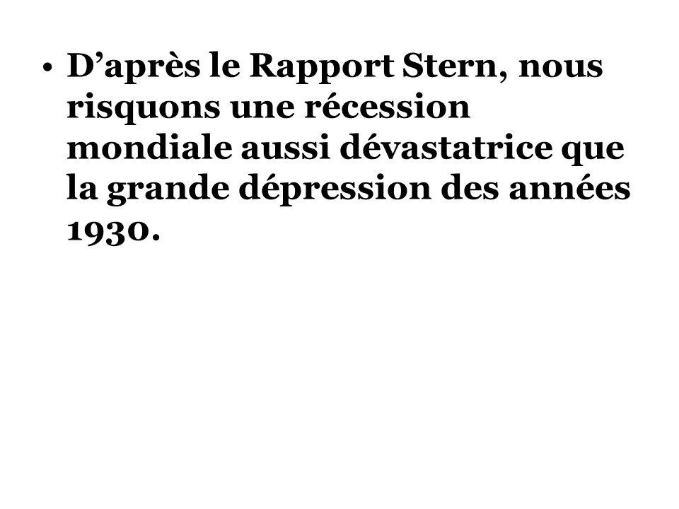 Daprès le Rapport Stern, nous risquons une récession mondiale aussi dévastatrice que la grande dépression des années 1930.