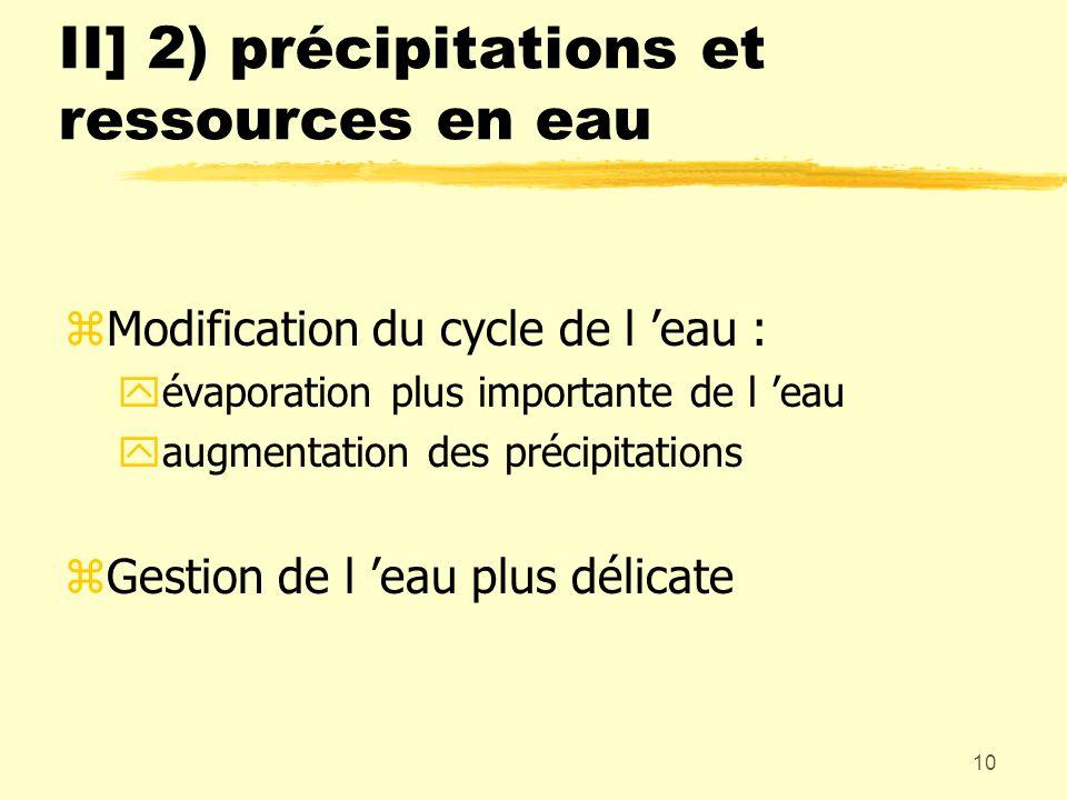 10 II] 2) précipitations et ressources en eau zModification du cycle de l eau : yévaporation plus importante de l eau yaugmentation des précipitations