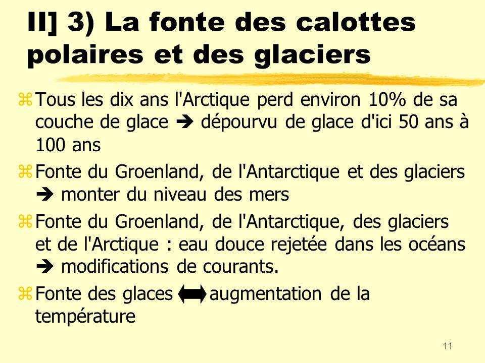11 zTous les dix ans l'Arctique perd environ 10% de sa couche de glace dépourvu de glace d'ici 50 ans à 100 ans zFonte du Groenland, de l'Antarctique