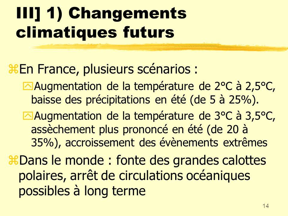 14 III] 1) Changements climatiques futurs zEn France, plusieurs scénarios : yAugmentation de la température de 2°C à 2,5°C, baisse des précipitations