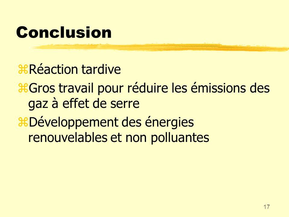 17 Conclusion zRéaction tardive zGros travail pour réduire les émissions des gaz à effet de serre zDéveloppement des énergies renouvelables et non pol
