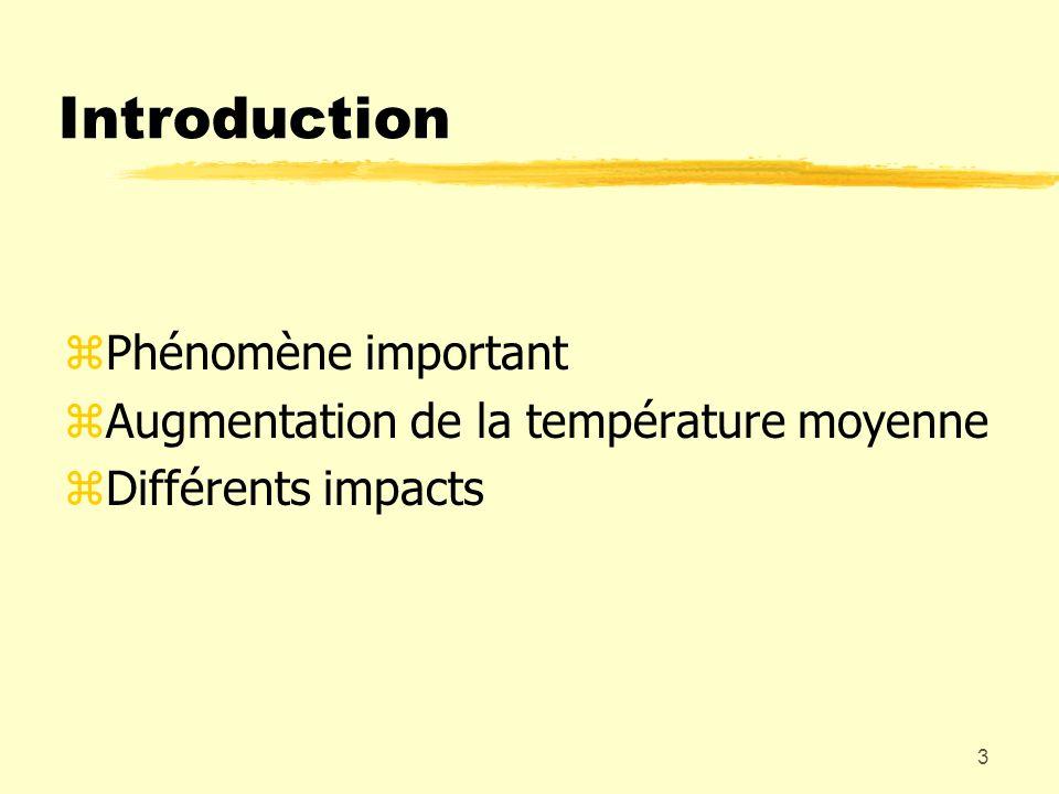 3 Introduction zPhénomène important zAugmentation de la température moyenne zDifférents impacts