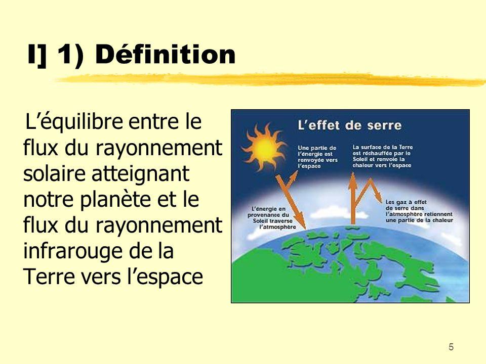 5 I] 1) Définition Léquilibre entre le flux du rayonnement solaire atteignant notre planète et le flux du rayonnement infrarouge de la Terre vers lesp