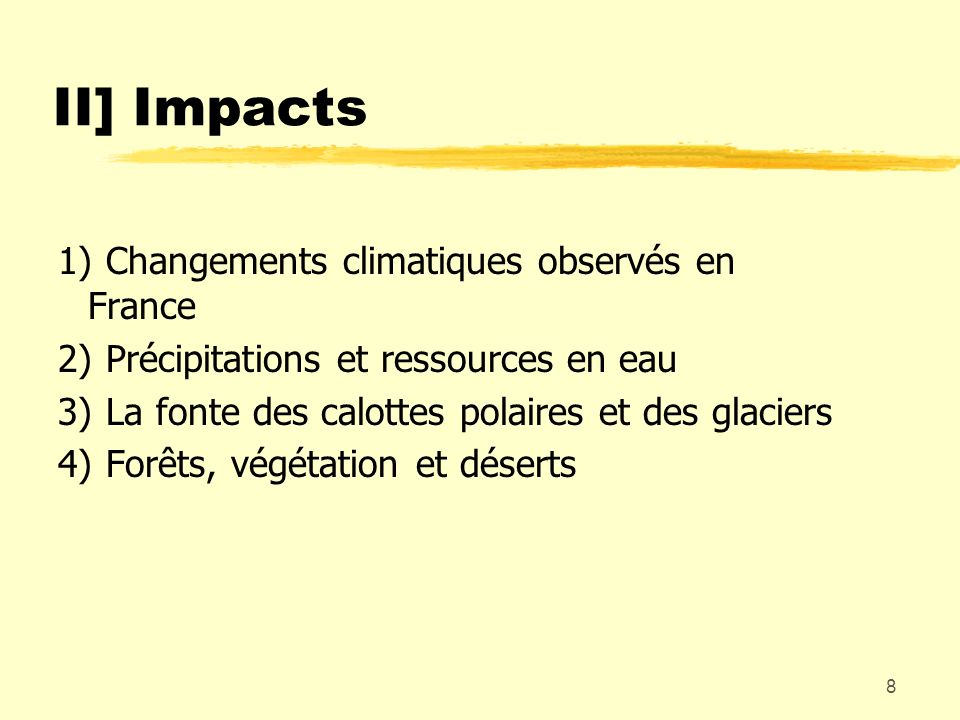 8 II] Impacts 1)Changements climatiques observés en France 2)Précipitations et ressources en eau 3)La fonte des calottes polaires et des glaciers 4)Fo