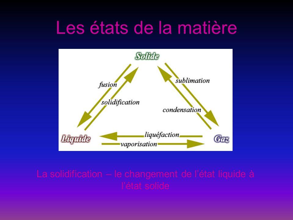 Les états de la matière La solidification – le changement de létat liquide à létat solide