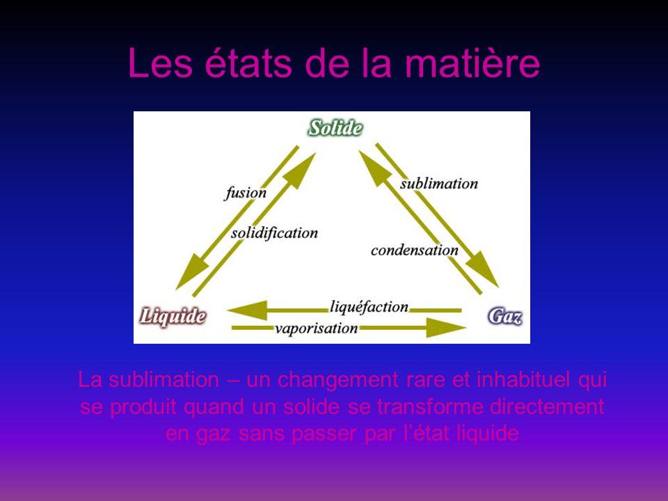 Les états de la matière La sublimation inverse – (ou la condensation solide) un changement rare et inhabituel qui se produit quand un gaz se transforme directement en solide sans passer par létat liquide