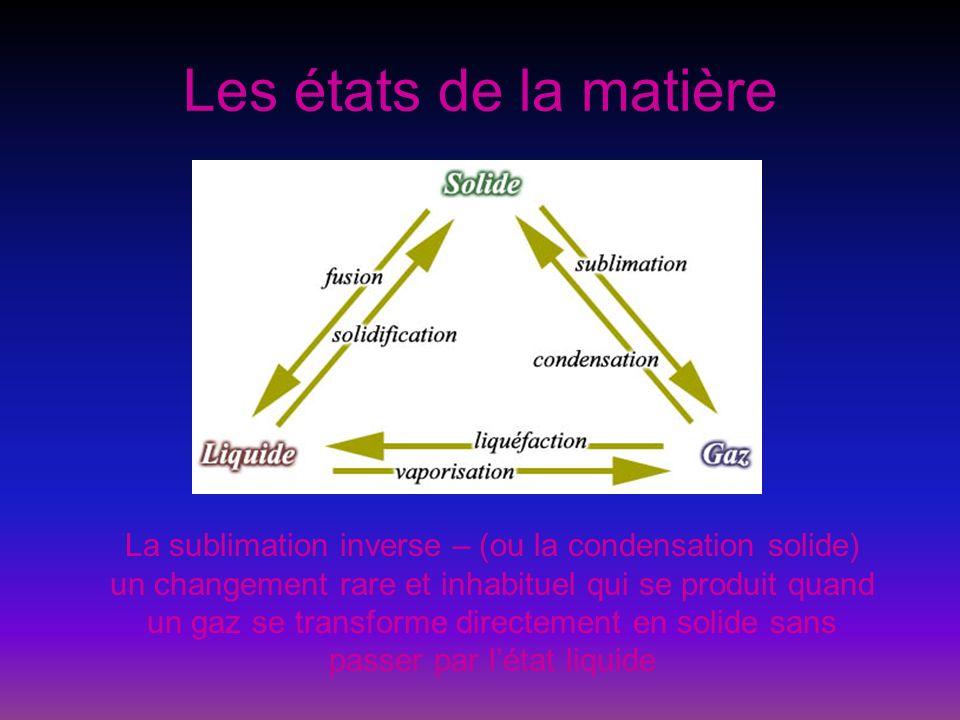 Les états de la matière La sublimation inverse – (ou la condensation solide) un changement rare et inhabituel qui se produit quand un gaz se transform