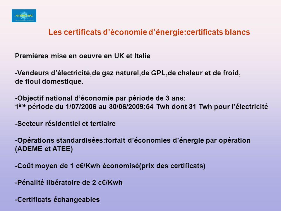Premières mise en oeuvre en UK et Italie -Vendeurs délectricité,de gaz naturel,de GPL,de chaleur et de froid, de fioul domestique.