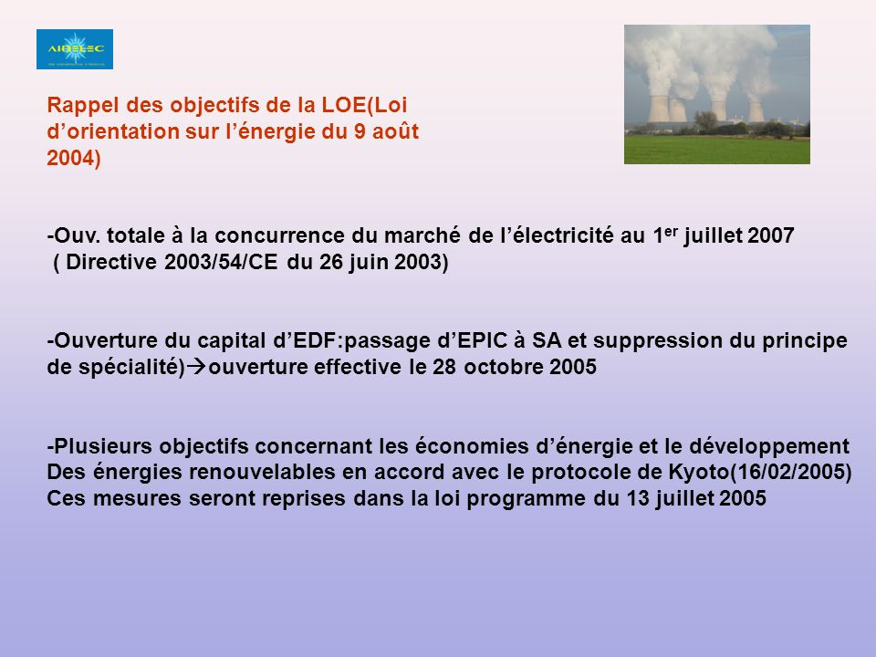 4 OBJECTIFS: -Contribuer à l indépendance énergétique nationale et garantir la sécurité d approvisionnement ; -Assurer un prix compétitif de l énergie ; -Préserver la santé humaine et l environnement, en particulier en luttant contre l aggravation de l effet de serre ; -Garantir la cohésion sociale et territoriale en assurant l accès de tous à l énergie.