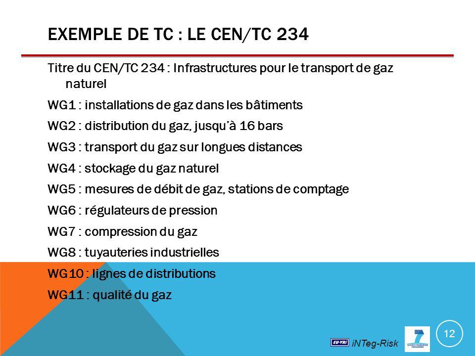 iNTeg-Risk EXEMPLE DE TC : LE CEN/TC 234 Titre du CEN/TC 234 : Infrastructures pour le transport de gaz naturel WG1 : installations de gaz dans les bâtiments WG2 : distribution du gaz, jusquà 16 bars WG3 : transport du gaz sur longues distances WG4 : stockage du gaz naturel WG5 : mesures de débit de gaz, stations de comptage WG6 : régulateurs de pression WG7 : compression du gaz WG8 : tuyauteries industrielles WG10 : lignes de distributions WG11 : qualité du gaz 12