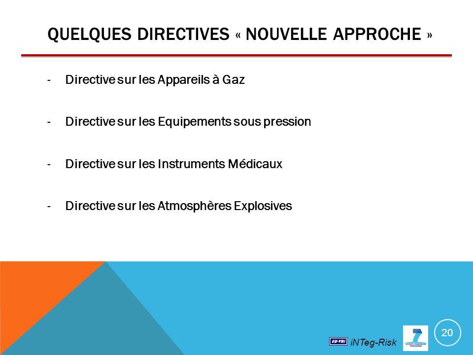 iNTeg-Risk QUELQUES DIRECTIVES « NOUVELLE APPROCHE » -Directive sur les Appareils à Gaz -Directive sur les Equipements sous pression -Directive sur les Instruments Médicaux -Directive sur les Atmosphères Explosives 20