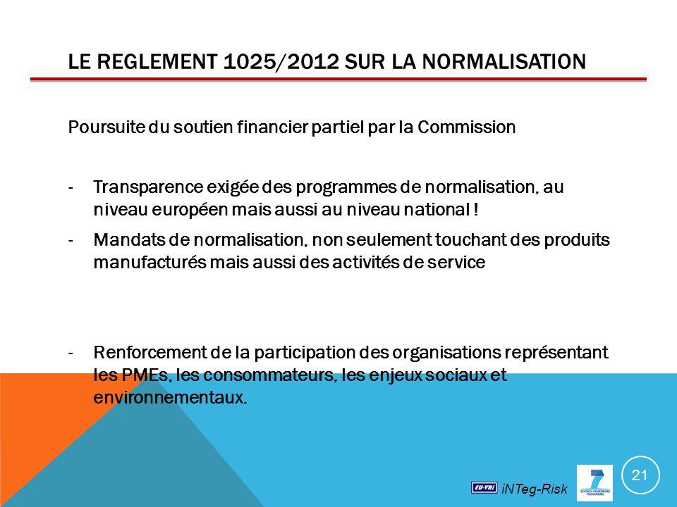 iNTeg-Risk LE REGLEMENT 1025/2012 SUR LA NORMALISATION Poursuite du soutien financier partiel par la Commission -Transparence exigée des programmes de normalisation, au niveau européen mais aussi au niveau national .