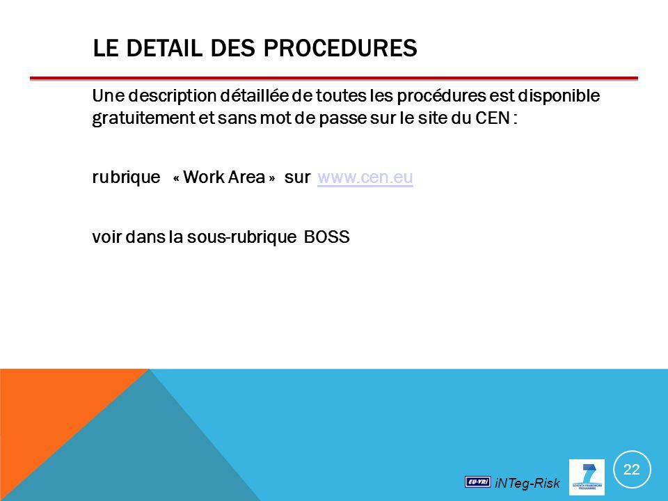iNTeg-Risk LE DETAIL DES PROCEDURES Une description détaillée de toutes les procédures est disponible gratuitement et sans mot de passe sur le site du CEN : rubrique « Work Area » sur www.cen.euwww.cen.eu voir dans la sous-rubrique BOSS 22
