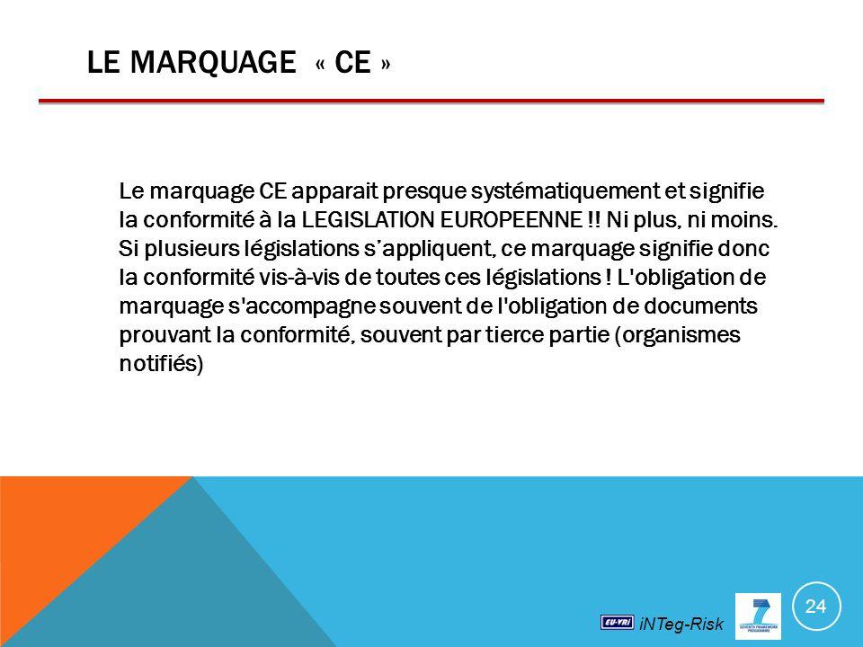 iNTeg-Risk LE MARQUAGE « CE » Le marquage CE apparait presque systématiquement et signifie la conformité à la LEGISLATION EUROPEENNE !.