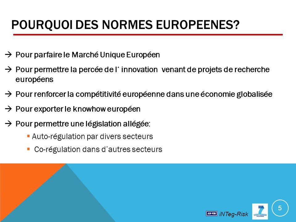 iNTeg-Risk POURQUOI DES NORMES EUROPEENES.