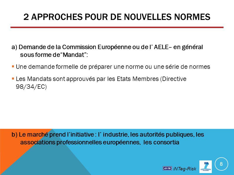 iNTeg-Risk 2 APPROCHES POUR DE NOUVELLES NORMES a) Demande de la Commission Européenne ou de l AELE– en général sous forme deMandat: Une demande formelle de préparer une norme ou une série de normes Les Mandats sont approuvés par les Etats Membres (Directive 98/34/EC) b) Le marché prend linitiative : l industrie, les autorités publiques, les associations professionnelles européennes, les consortia 8