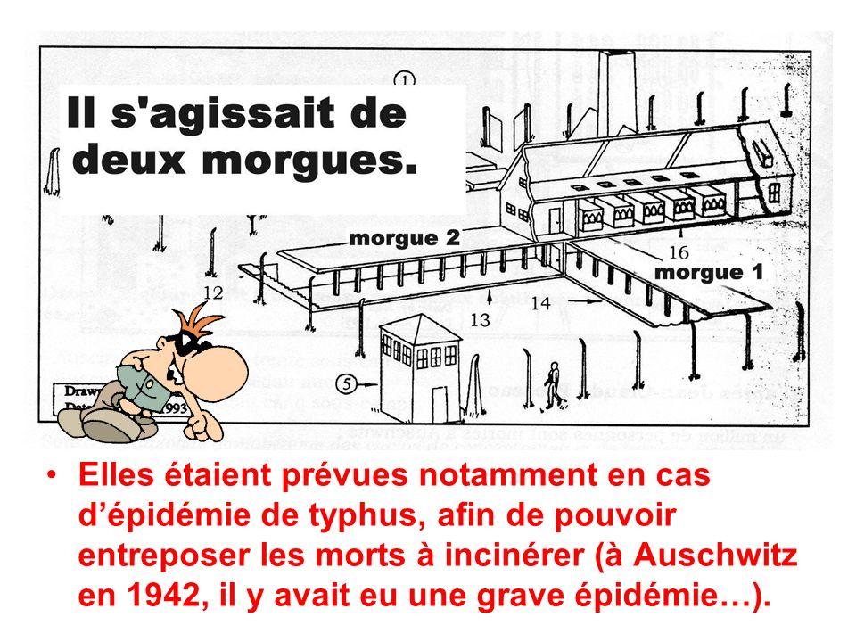 Elles étaient prévues notamment en cas dépidémie de typhus, afin de pouvoir entreposer les morts à incinérer (à Auschwitz en 1942, il y avait eu une grave épidémie…).