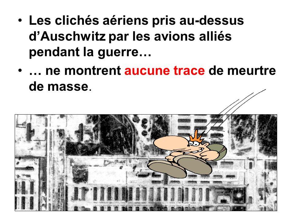 Les clichés aériens pris au-dessus dAuschwitz par les avions alliés pendant la guerre… … ne montrent aucune trace de meurtre de masse.