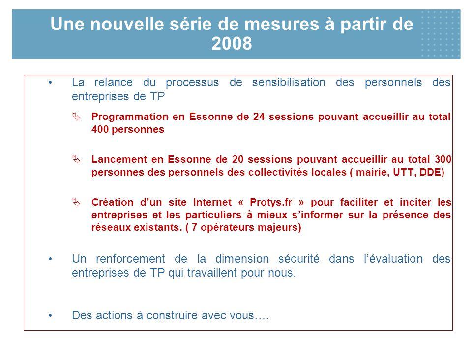 Une nouvelle série de mesures à partir de 2008 La relance du processus de sensibilisation des personnels des entreprises de TP Programmation en Essonn