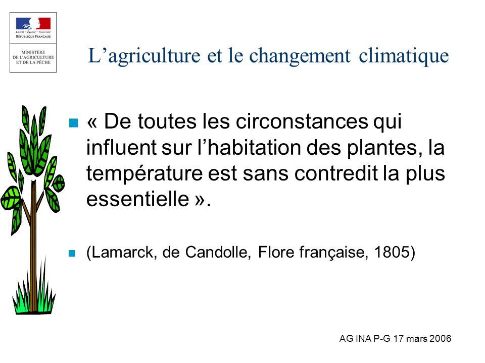 AG INA P-G 17 mars 2006 Lagriculture et le changement climatique n « De toutes les circonstances qui influent sur lhabitation des plantes, la températ