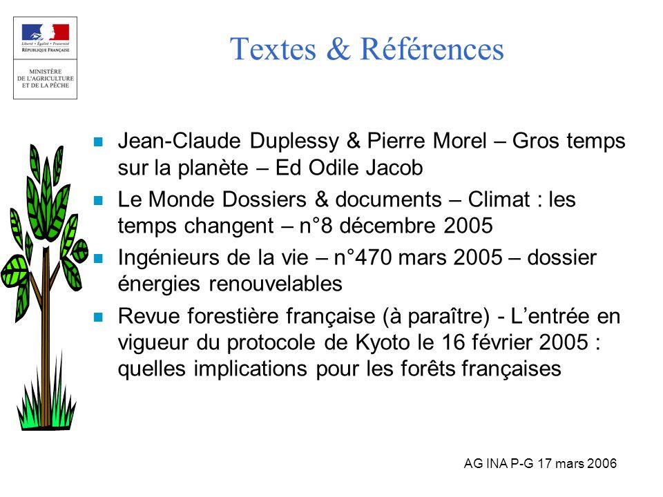 AG INA P-G 17 mars 2006 Textes & Références n Jean-Claude Duplessy & Pierre Morel – Gros temps sur la planète – Ed Odile Jacob n Le Monde Dossiers & d