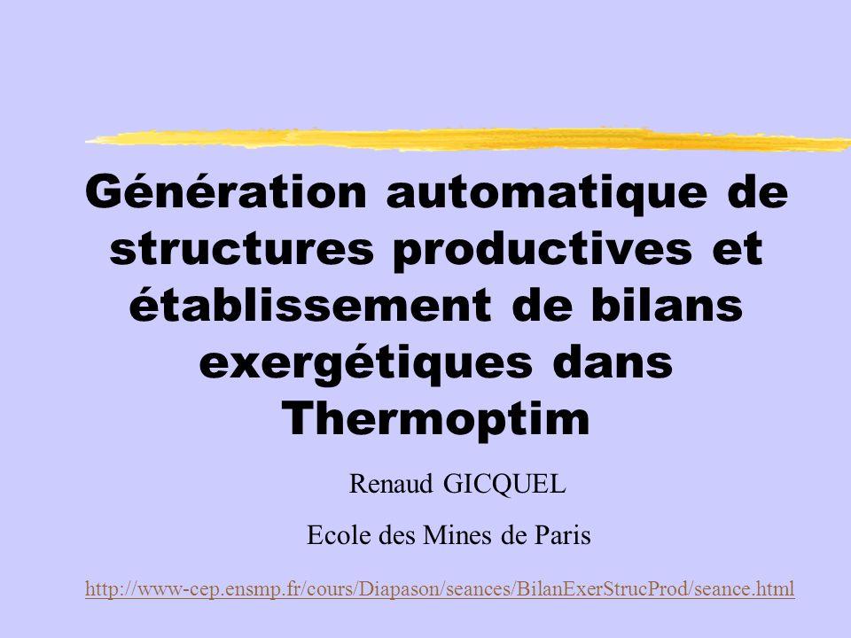 Génération automatique de structures productives et établissement de bilans exergétiques dans Thermoptim Renaud GICQUEL Ecole des Mines de Paris http://www-cep.ensmp.fr/cours/Diapason/seances/BilanExerStrucProd/seance.html