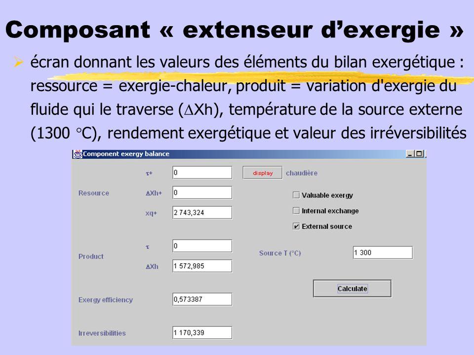 Composant « extenseur dexergie » écran donnant les valeurs des éléments du bilan exergétique : ressource = exergie-chaleur, produit = variation d'exer