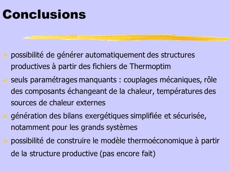Conclusions possibilité de générer automatiquement des structures productives à partir des fichiers de Thermoptim seuls paramétrages manquants : coupl