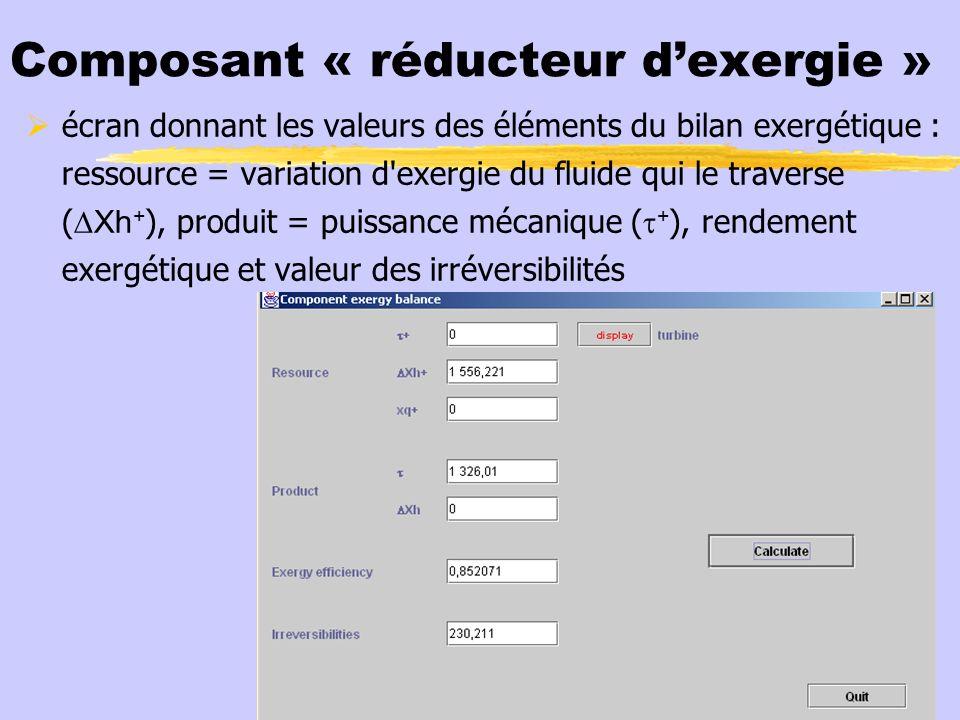 Composant « réducteur dexergie » écran donnant les valeurs des éléments du bilan exergétique : ressource = variation d'exergie du fluide qui le traver