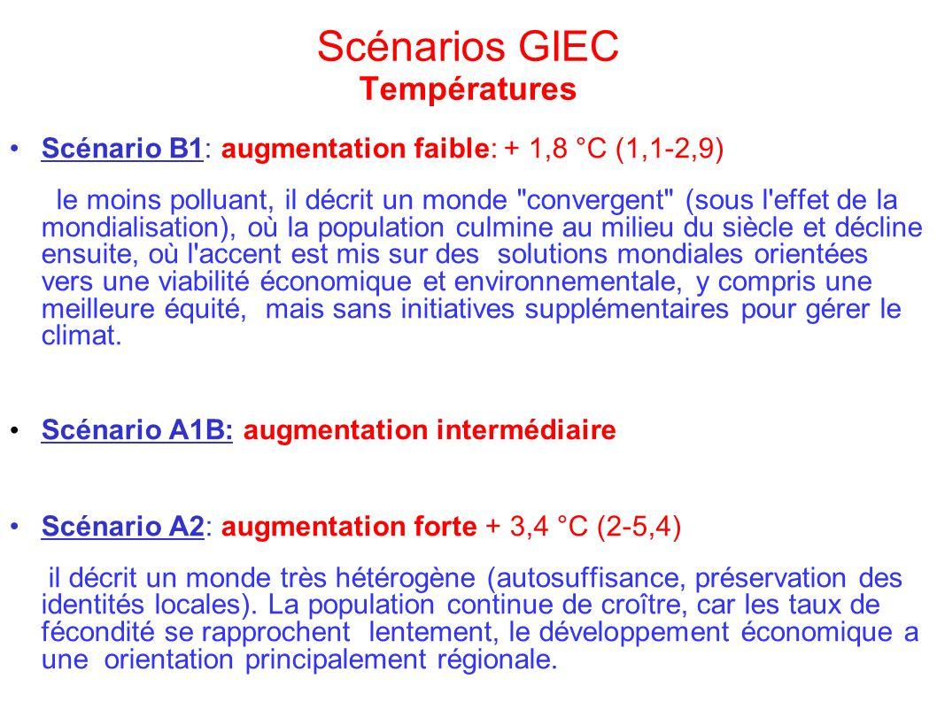 Scénarios GIEC Températures Scénario B1: augmentation faible: + 1,8 °C (1,1-2,9) le moins polluant, il décrit un monde