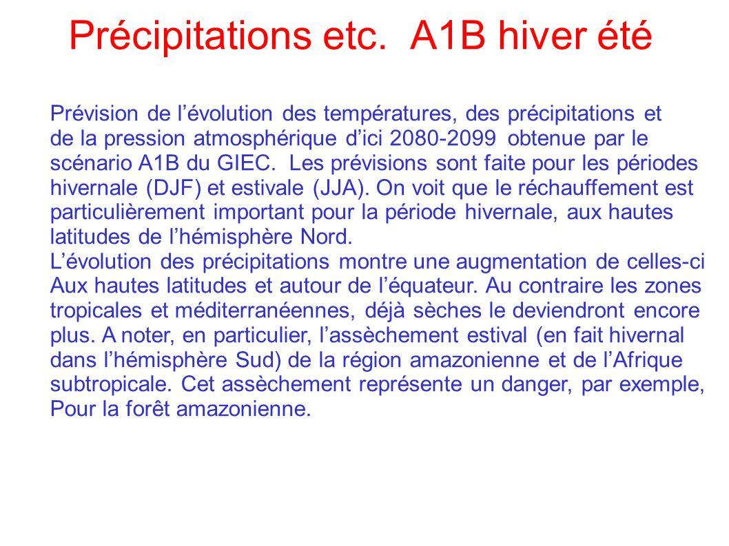 Prévision de lévolution des températures, des précipitations et de la pression atmosphérique dici 2080-2099 obtenue par le scénario A1B du GIEC. Les p