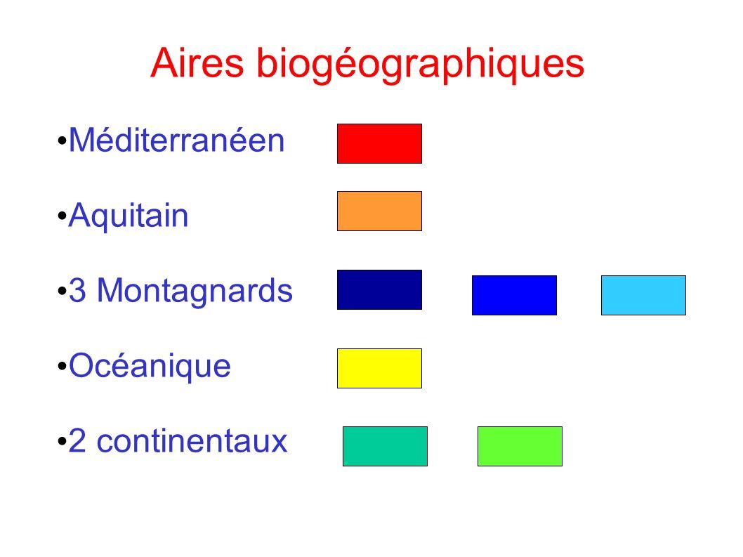 Aires biogéographiques Méditerranéen Aquitain 3 Montagnards Océanique 2 continentaux