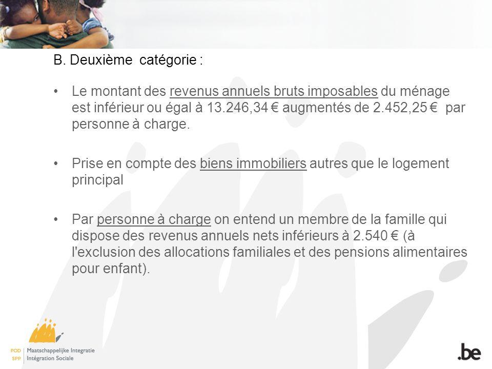 Le montant des revenus annuels bruts imposables du ménage est inférieur ou égal à 13.246,34 augmentés de 2.452,25 par personne à charge.